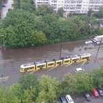 Tram in the water